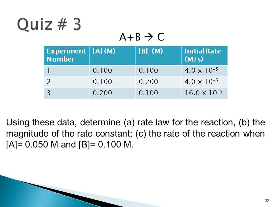 Quiz # 3 A+B  C. Experiment. Number. [A] (M) [B] (M) Initial Rate. (M/s) 1. 0.100. 4.0 x 10-5.